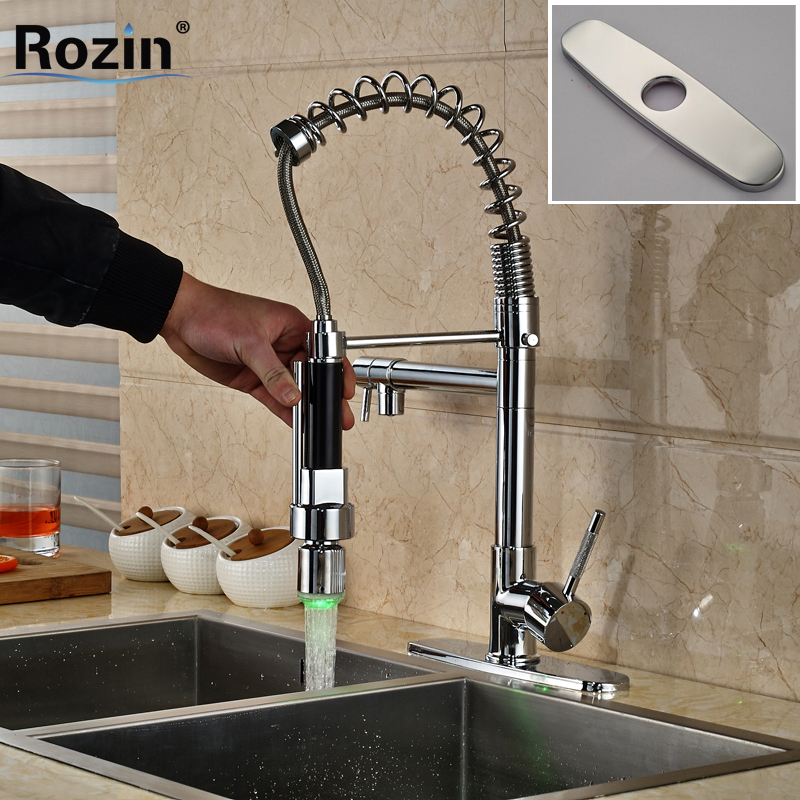 Chrome Single Handle Kitchen Mixers Crane Deck Mount RGB Light Hot and Cold Water Taps Dual