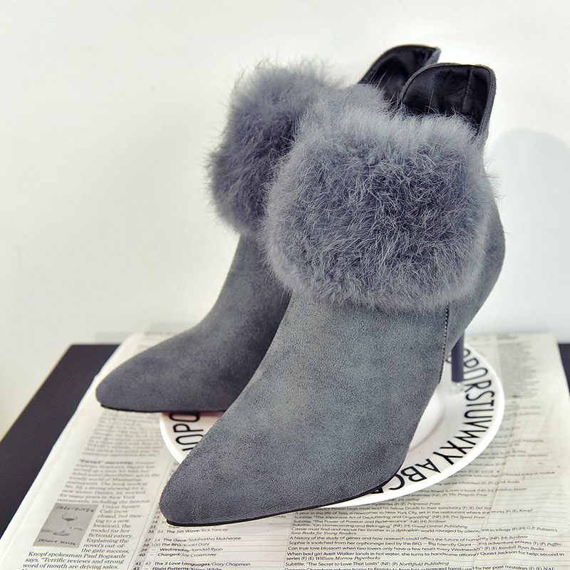 ФОТО 2017 new autumn and winter really fine pointed boots with fur nubuck leather high-heeled boots Martin boots single women shoes