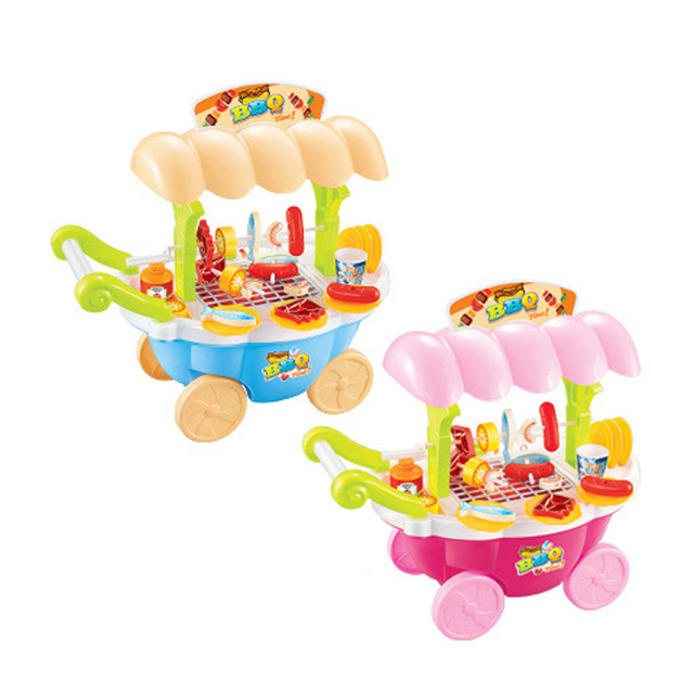 Baby Boy Girl Pretend Play Kitchen Toys Electric Barbecue Cart Flashing Light Music Simulated Kitchen Playhouse Toy Xmas Gift