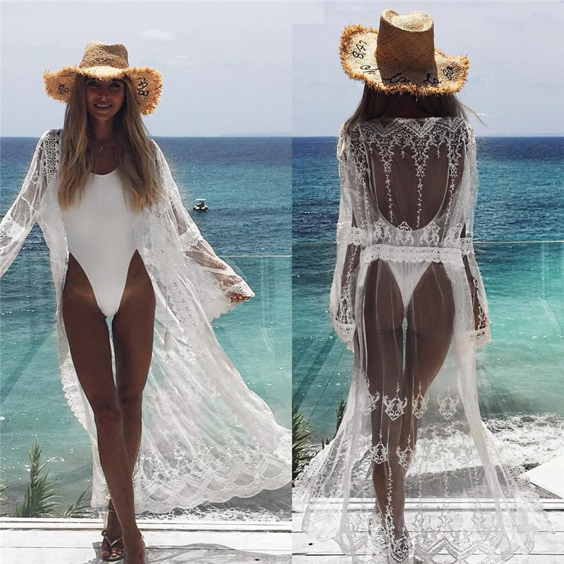 Sexy See Through Long Sleeve Beach Dress Women Solid White Lace Summer Beach Cover Up Women Beachwear Tunic Sarong Lady Cardigan