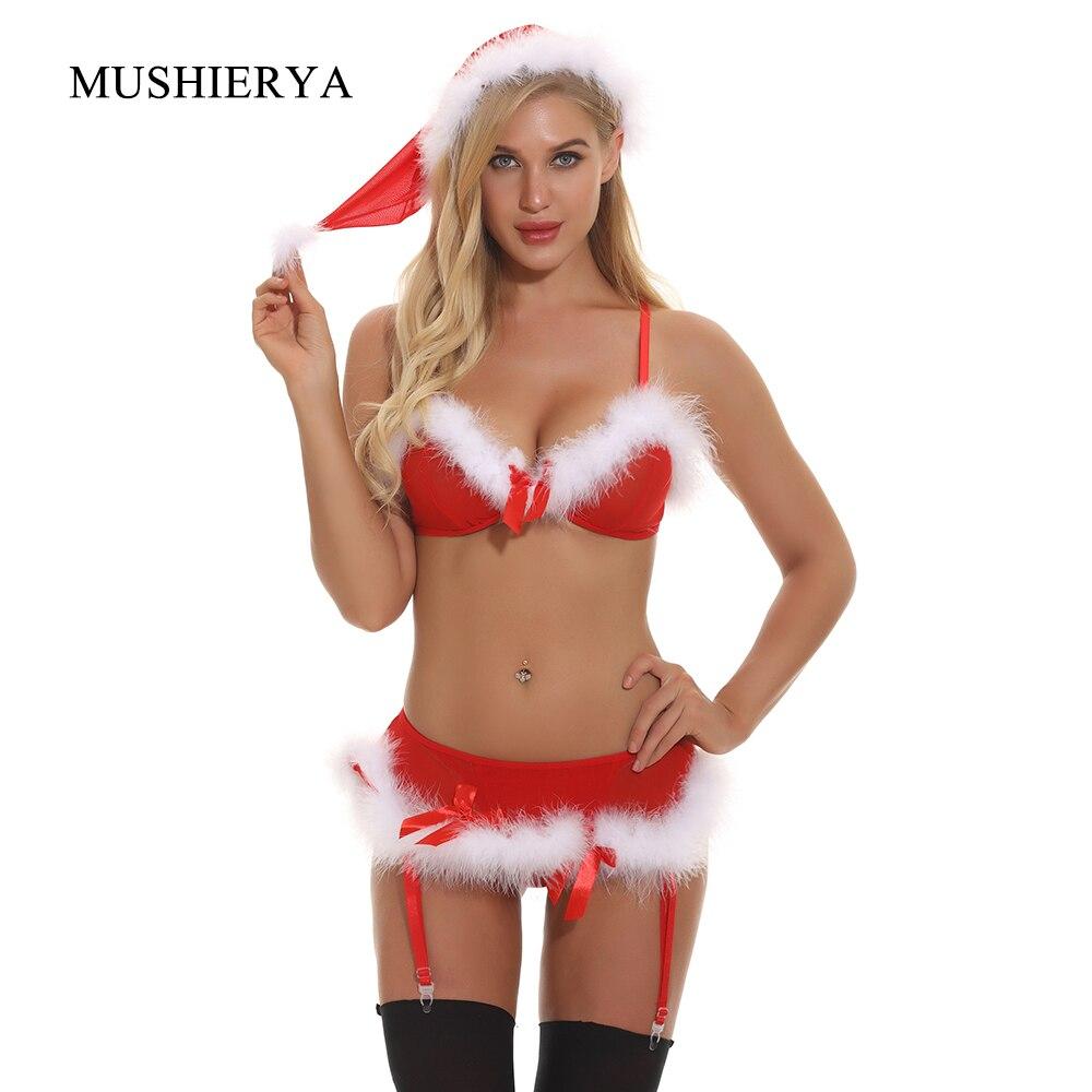 MUSHIERYA Women Christmas Costumes Sexy Lingerie Bra Set Sexy Underwear Trim Feather Hat Set Bra Nightwear Garter Mesh Plus Size