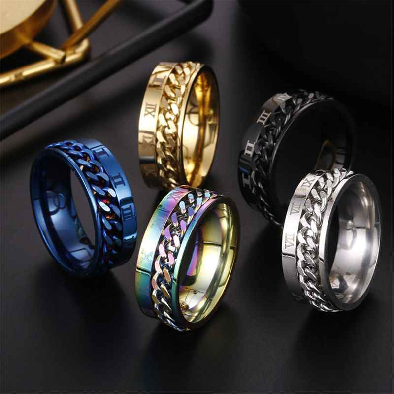 EDC Finger Fidget Spinner Stainless Steel Chain Rotatable Ring Men Classical Rome Digital Power Sense Gift