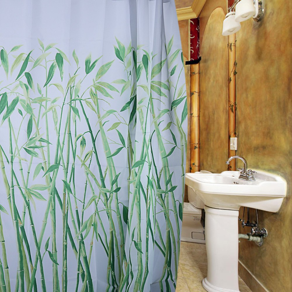 Bamboo bathroom decor - Natural Fresh Bamboo Design Pattern Waterproof Polyester Bath Curtain With 12 Plastic Buckles For Home Hotel