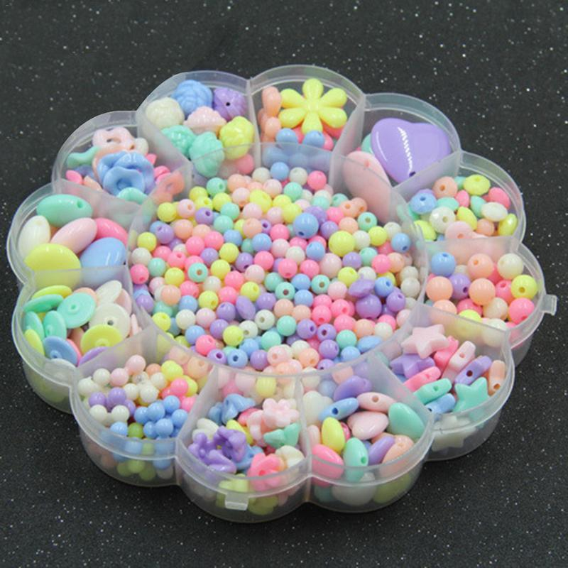New DIY Girl Beads Colorful Toy DIY Bracelet Jewelry Making Kids Beads Set 3D Puzzle Beads Set Plum Blossom Gift Box