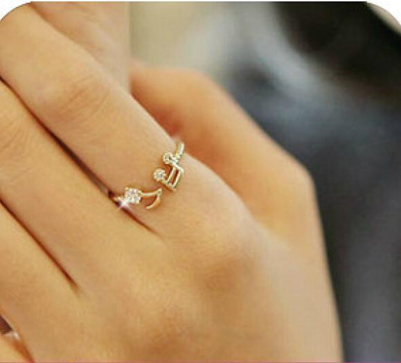 Ladies Musical Note Adjustable Ring