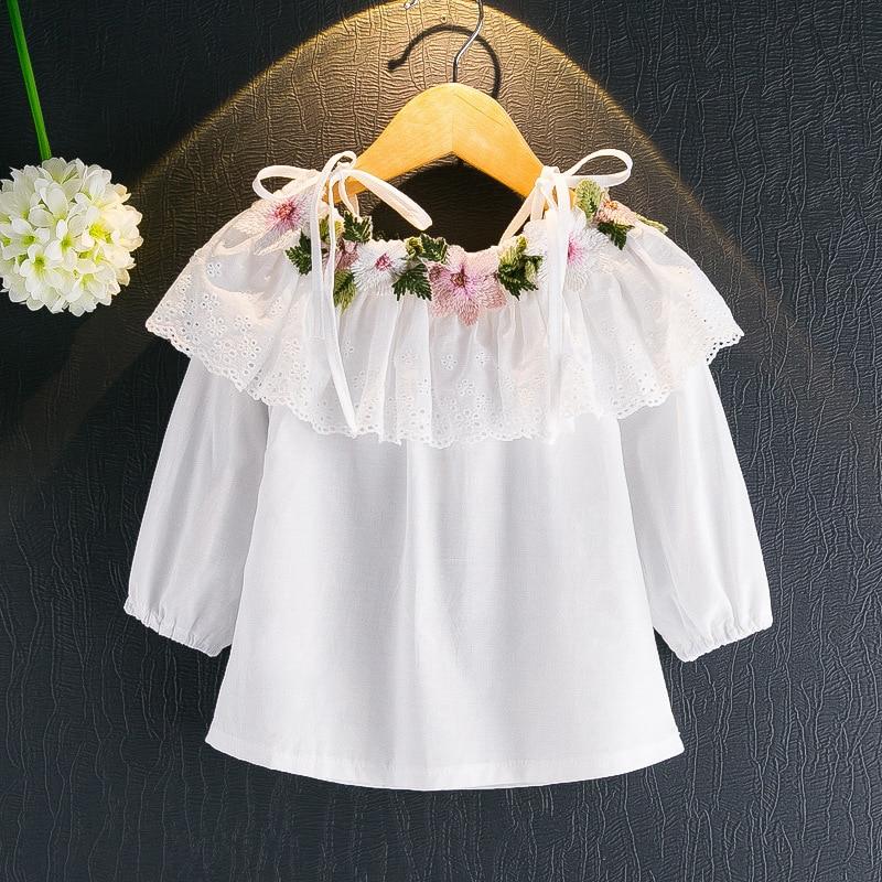 Одежда для маленькой девочки Корейская версия Весна и Осень Новые Девушки Цветы вышитые с длинными рукавами белая футболка без бретелек ру...