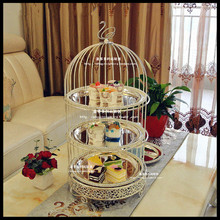 1 PCS Creative two-tier three-layer bird cage afternoon tea snack rack West point plate baking dessert cake stand