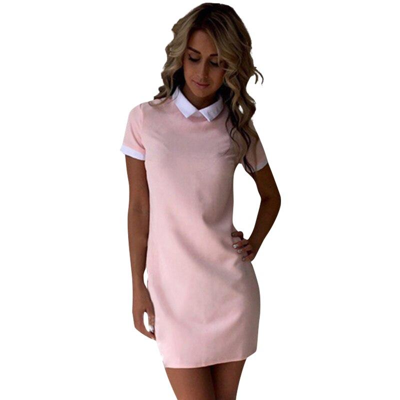 Women dresses 2017 fashion women turn down collar casual dress elegant short sleeved summer dress feminine