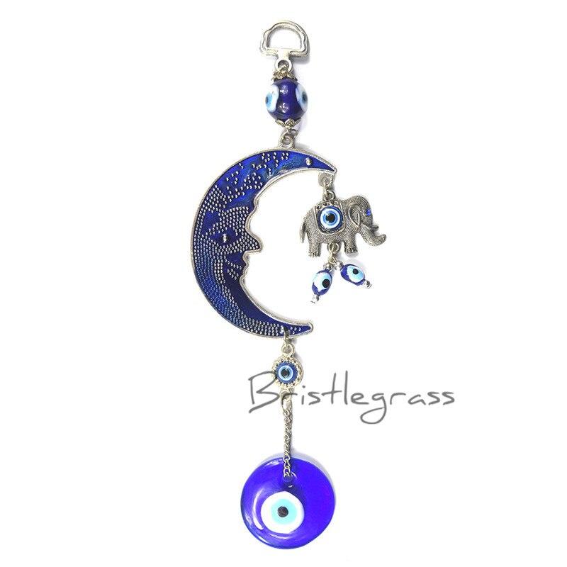 """Turkish Blue Evil Eye 2.5/"""" Hamsa Hand Elephant Amulet Wall Protection Hanging"""
