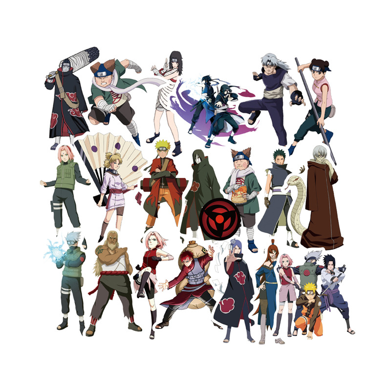 51pcs waterproof Luggage Sticker Narutos Sticker set Sasuki Kakashi action figure Decorative pvc Sticker game card Kids Party image