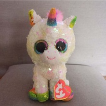 15CM Hot Ty Beanie Boos Big Eyes Sequin Unicorn Heart Dog Unicorn Dog Lion  Bat Plush 4f283b0d349