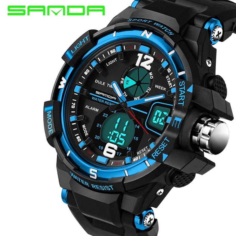 SANDA Men s Watch Men Luxury Brand Silicone Strap Analog Digital Led Sports Watch Waterproof Quartz