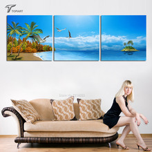 3 Panel Large Wall Art Palm and Beach Canvas Print Tropical Island Seascape Painting Decorative Pictures For Home Decor No Frame