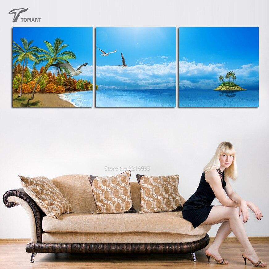 ▻3 panel de pared del arte grande Palma y Playa lona isla tropical ...