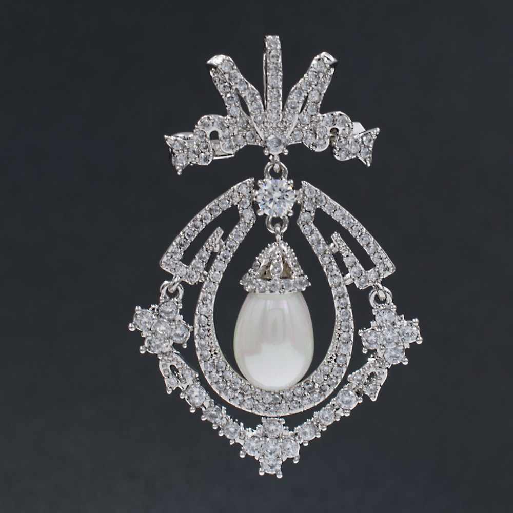 Perak Nada Cubic Zirconia Royal Bros Pin Bros Wanita Gadis Perhiasan Gaun Aksesoris HX00149