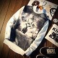 Harajuku Мужчины Кофты 3D Оленей Печати Случайный Пуловеры 2016 Новое Прибытие Модный Бренд Личности Хип-Хоп О-Образным Вырезом Футболка
