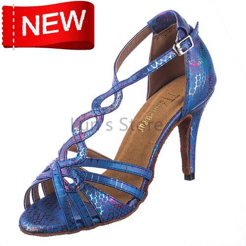 New Free Shipping Blue Snakeskin Open Toe Dance Shoe Ballroom Salsa Latin Tango Bachata Dancing Dance