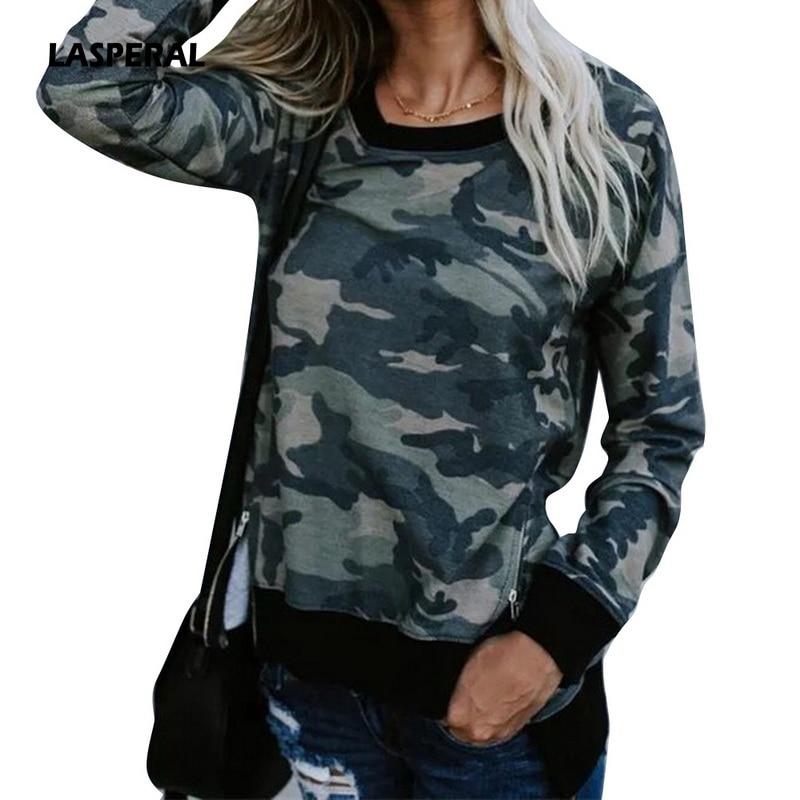 LASPERAL 2018 Camouflage Fashion Women Harajuku Sweatshirt Slipt Side Zipper Hoodie Pullover Long Sleeve Spring Women Hoodys Top ...