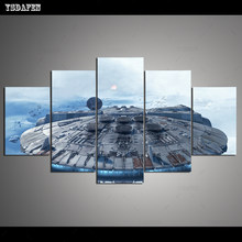 Drop Shipping HD 5 panel Canvas Art Rich And Star Wars painting panther mountain Poster Picture For Living Room VH-1715(China)