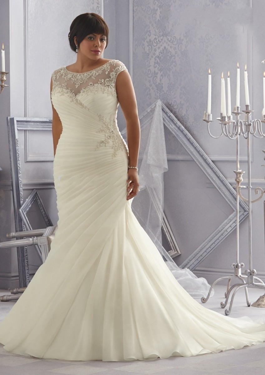 New Elegant Plus Size Wedding Dresses 2016 Ruched Bridal Gowns For ...