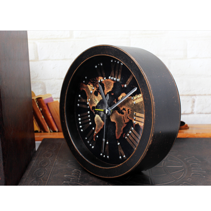 Ouyun new european world map desktop clock retro small wooden alarm ouyun new european world map desktop clock retro small wooden alarm clock living room bedroom mute office clock home decor in alarm clocks from home gumiabroncs Image collections