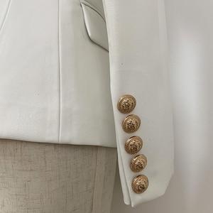 Image 5 - 最新バロックファッション 2020 デザイナーブレザージャケット女性のライオン金属ボタンフェイクレザーブレザー外皮