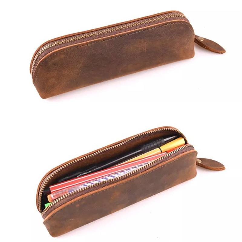 Vintage Crazy Horse Genuine Leather Pencil Case Gift Stationery Store Real Cowhide Pen Bag Pouch School Holder Purse Bts Makeup first layer genuine leather crazy horse pen bag zipper retro portable simple pencil case with hand tail traveler school supplies