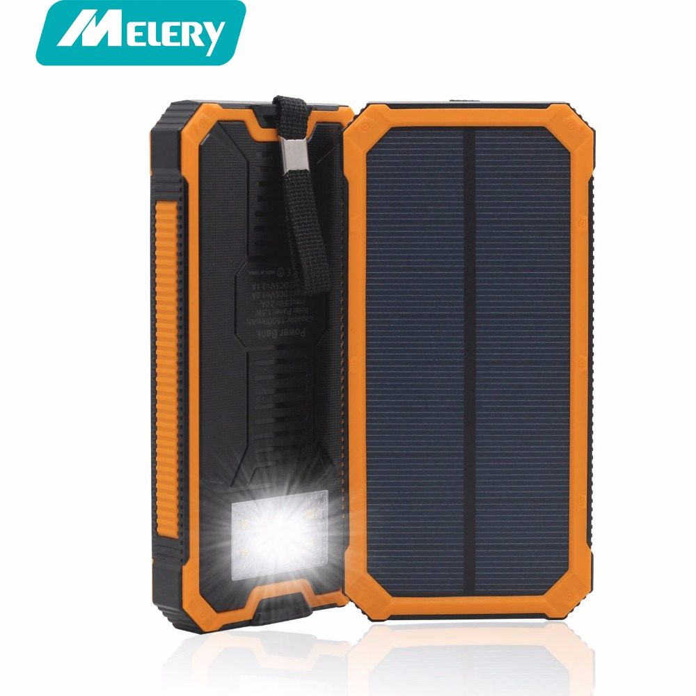 Melery <font><b>Solar</b></font> Power Bank 10000mAh Shockproof/Dustproof Charger Battery Portable Mobile Powerbank for xiaomi Iphone Smartphone