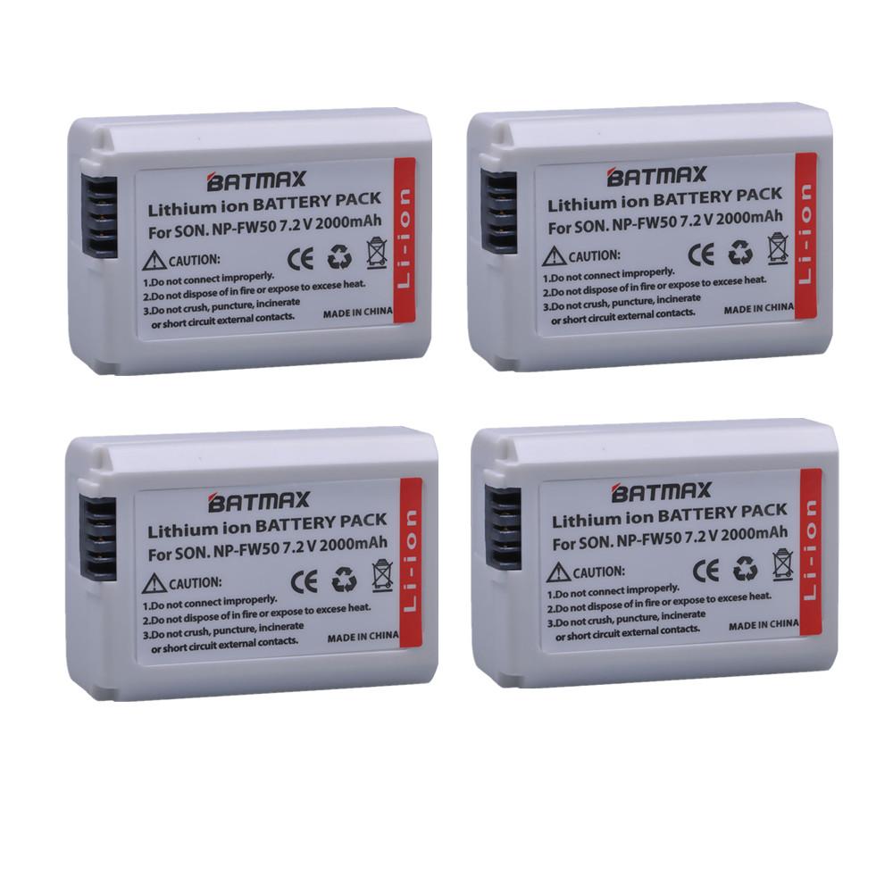 4x batterie NP-FW50 NP FW50 Battery for Sony a37 a5100 NEX5T NEX5R X-7 NEX6 NEX-5N NEX5C NEX3N NEX3CV a33 a35 a37