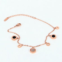 Fashion Stainless Steel Rose Gold Color FOOT CHAIN Roman numerals Shel Round Circle Chain Anklet bracelet Woman Beach Party Gift(China)