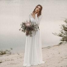 Wedding Dress Long Sleeve Boho V Neck Backless bridal dresses 2019 Chiffon Princess Lace Chiffon Wedding Gown vestido de noiva