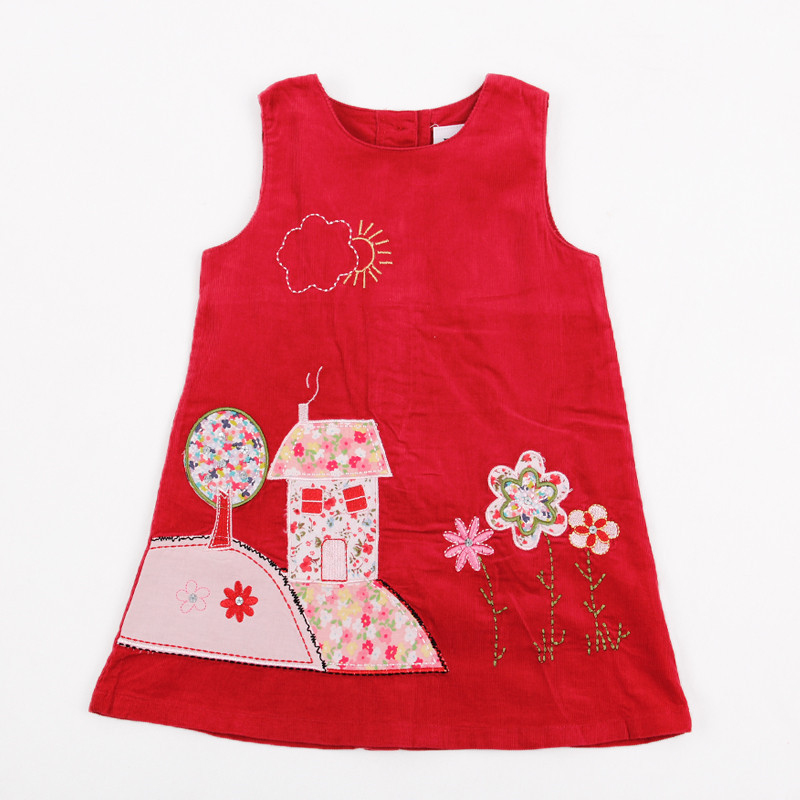 цены 2-8Y Nova girls dresses children summer corduroy clothes applique hot selling girls flower frocks baby girls wear kids clothes