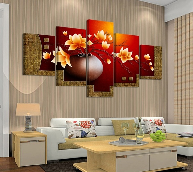 Beautiful Flower In Vase Oil Painting For Dining Room 5 Piece Canvas Art  Painting Modern Canvas