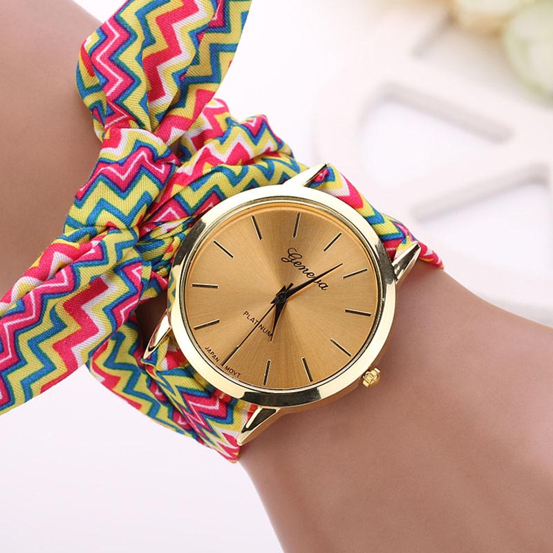 Fashion Women Aztec Tribal Floral Cloth Quartz Dial Wristwatch Watch Drop Shipping Y7822