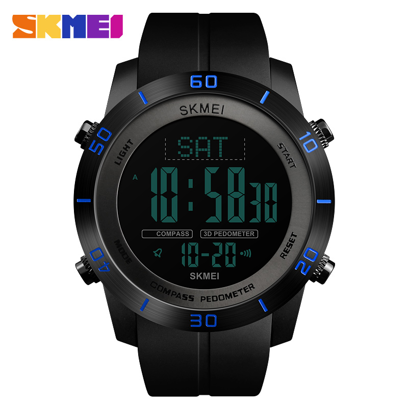 <font><b>SKMEI</b></font> Compass Sports Watches Relogio Masculino Clock Countdown Wristwatches Compass Pedometer Calorie Mileatge Digital Watch image
