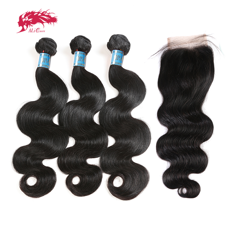 Ali queen hair Products перуанские объемные волнистые натуральные волосы 3 пучка с закрытием кружева бесплатная часть предварительно выщипанные нату...