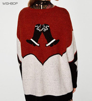 WISHBOP NEW 2017 Autumn Winter Woman COWBOY Oversized Sweater With Contrasting Intarsia Details Boots Hat Embroidery