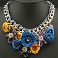 Vintage Transprent Crystal Big Flower Bib Choker Statement Necklace Fashion Jewerly For Women 2017 collares colares femininos