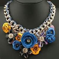 Vintage Transprent Crystal Big Flower Bib Choker Statement Necklace Fashion Jewerly For Women 2017 collares colares femininos