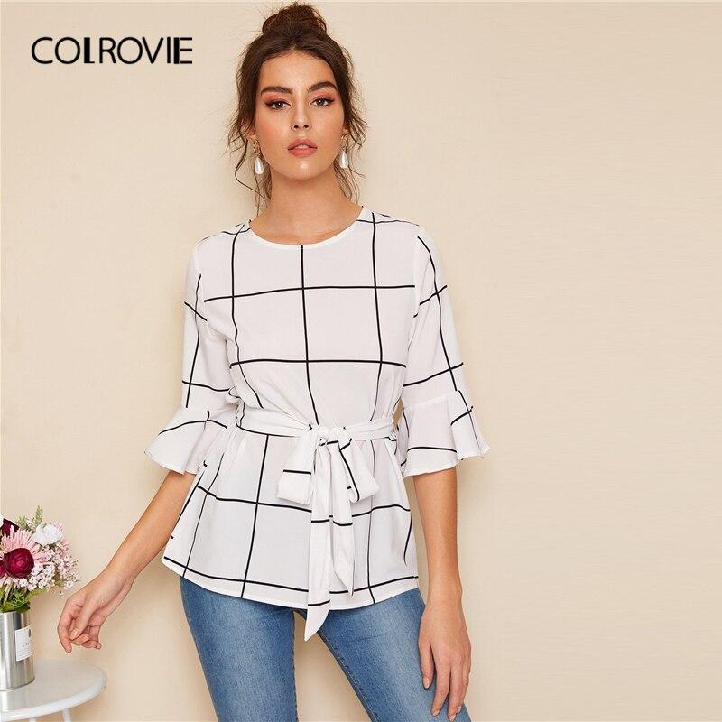 COLROVIE White Flounce Sleeve Belted Grid Plaid Top Women Elegant   Blouse     Shirt   2019 Summer Workwear Office Ladies   Blouses
