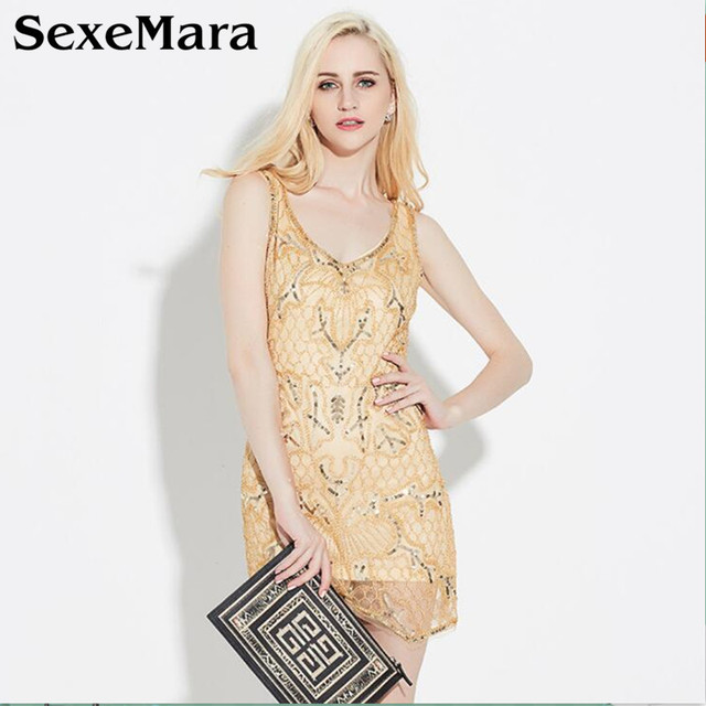 9939de59a9c37 New Ladies Elegant V Neck Gold Beading Sequins Flapper Dress Mini Party  Dress