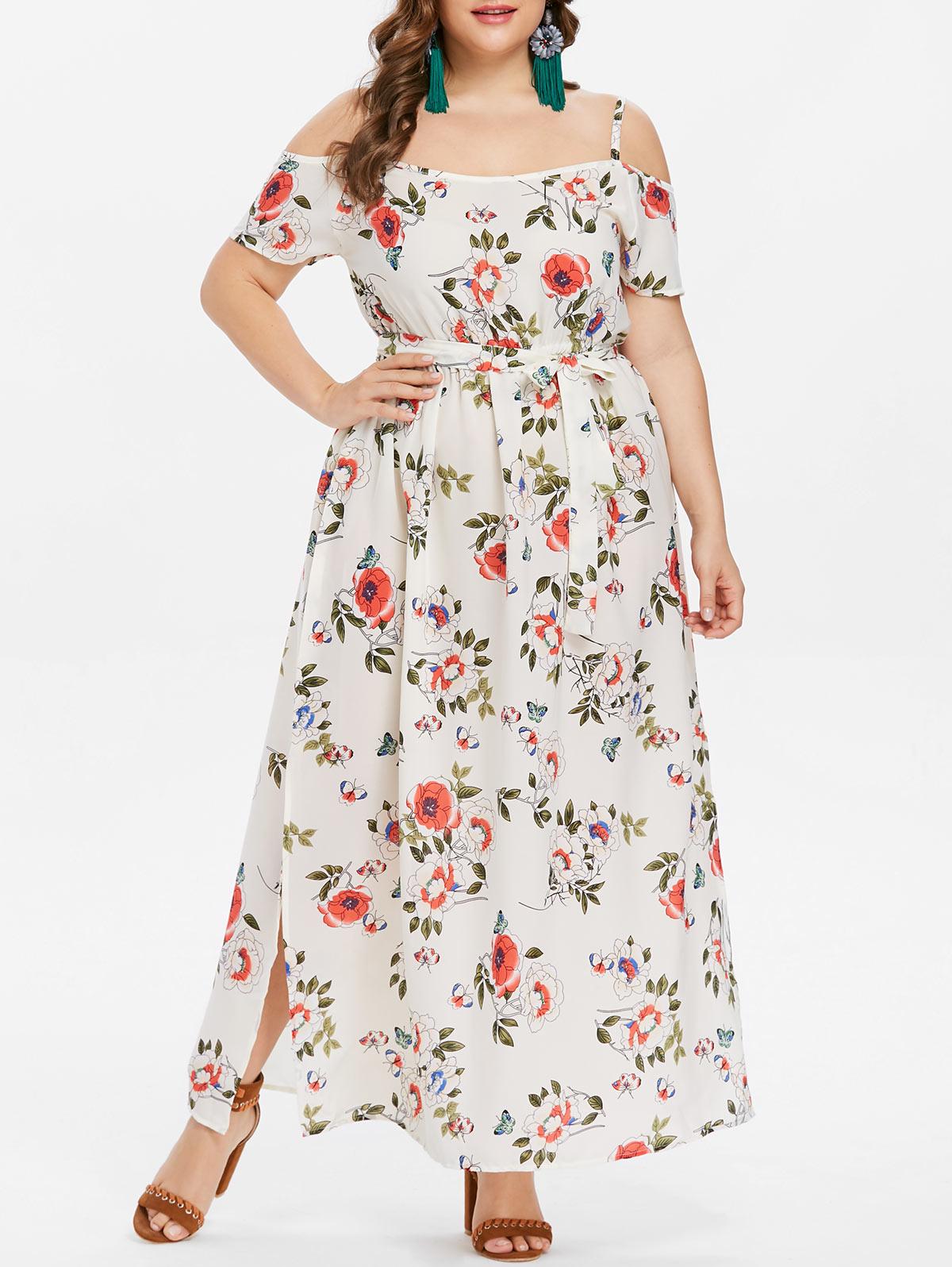 9a3c61ed8092d US $13.99 39% OFF Wipalo Short Sleeve Dress Floral Print Beach Vintage Maxi  Dresses Boho Casual Cold Shoulder Belt Tunic Draped Plus Size Vestido-in ...