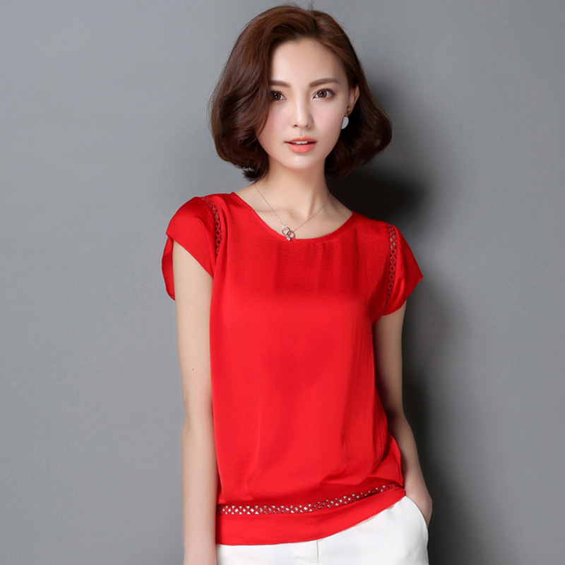 Women Shirts New 2018 Summer lady Elegant Short Sleeve Soft Blouse O-Neck Solid Ladies Office Casual Shirts Tops Femme Plus size