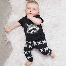 2 pcs Fashionable Baby's Clothing 100% Cotton Baby's Clothes Set Newborn T-shirt and Pants Short Sleeve Baby Boys Clothing