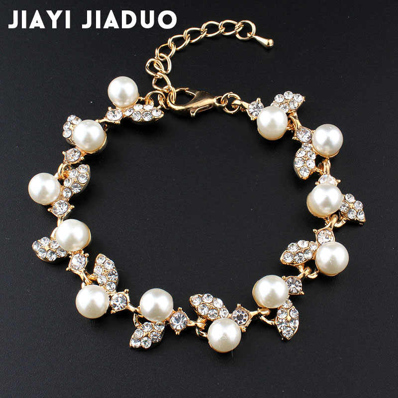 Jiayijiaduo Simulation Pearl Bracelet Ladies Gold Color Link Chain Crystal Bridal Wedding Jewelry Bracelet and Bracelet 809