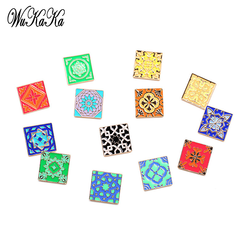 3-4 PCs 1 Set Enamel Floor Tiles Style Square Brooch For Women Vintage Designer Floor Styled Costume Brooches Pins