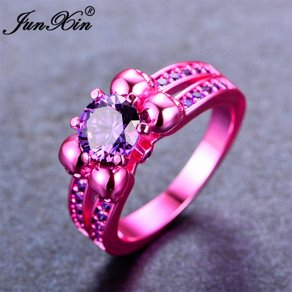 JUNXIN Retro Male Female Purple Skull Ring Fashion Pink Gold Filled ...