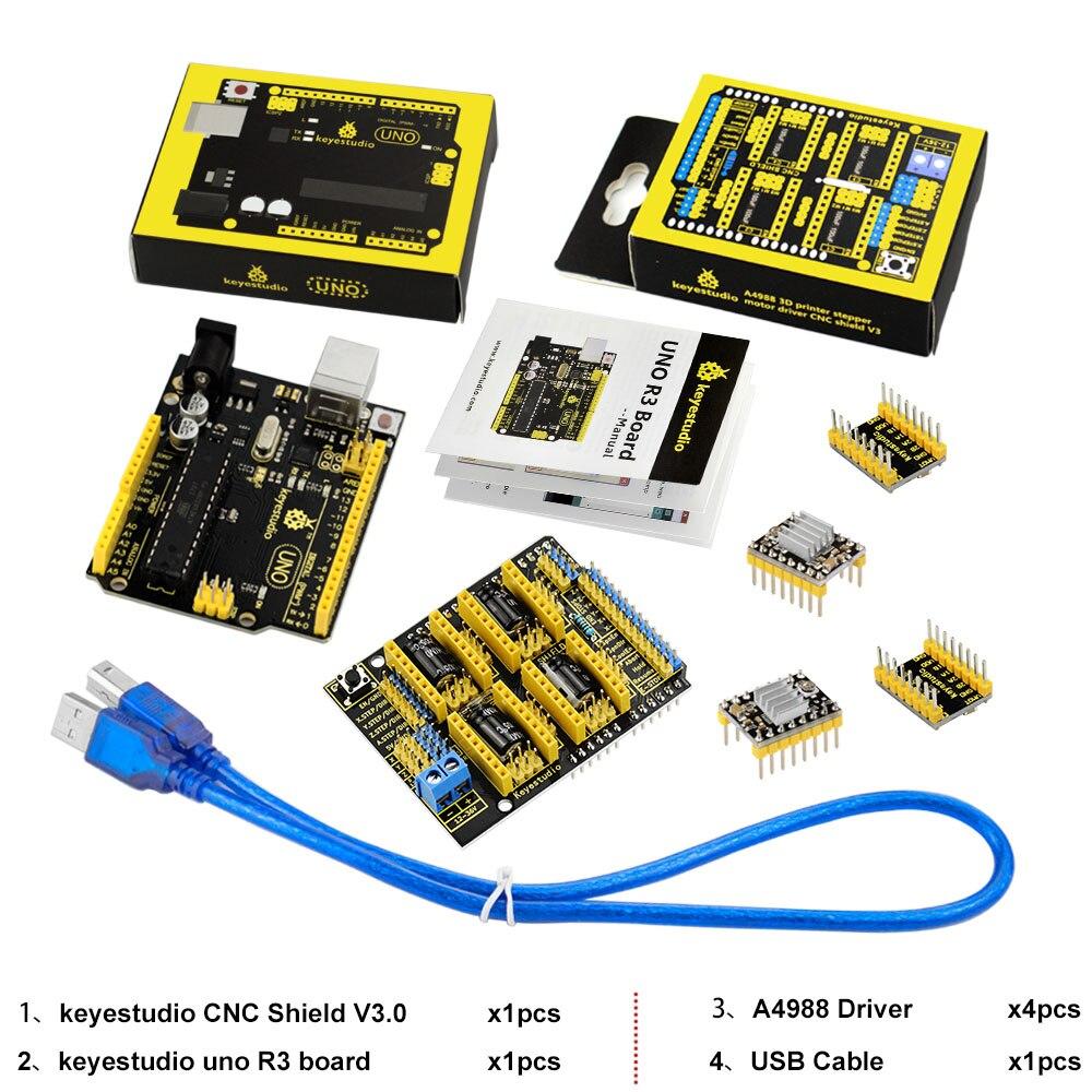 Image 5 - Frete grátis! keyestudio kit cnc para arduino cnc escudo v3   uno  r3 4 peças a4988 driver/grbl compatívelkit for arduinokit kitsuno r3