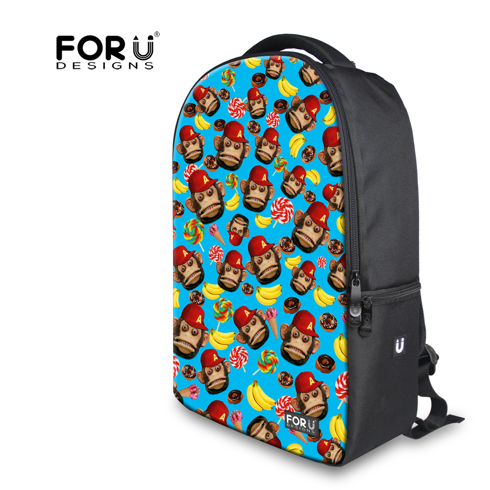 Preppy Style Cotton Backpack Fashion Cute Monkey Printing Laptop Backpack for Women Multifunction Teenager Girls Travel Backbag