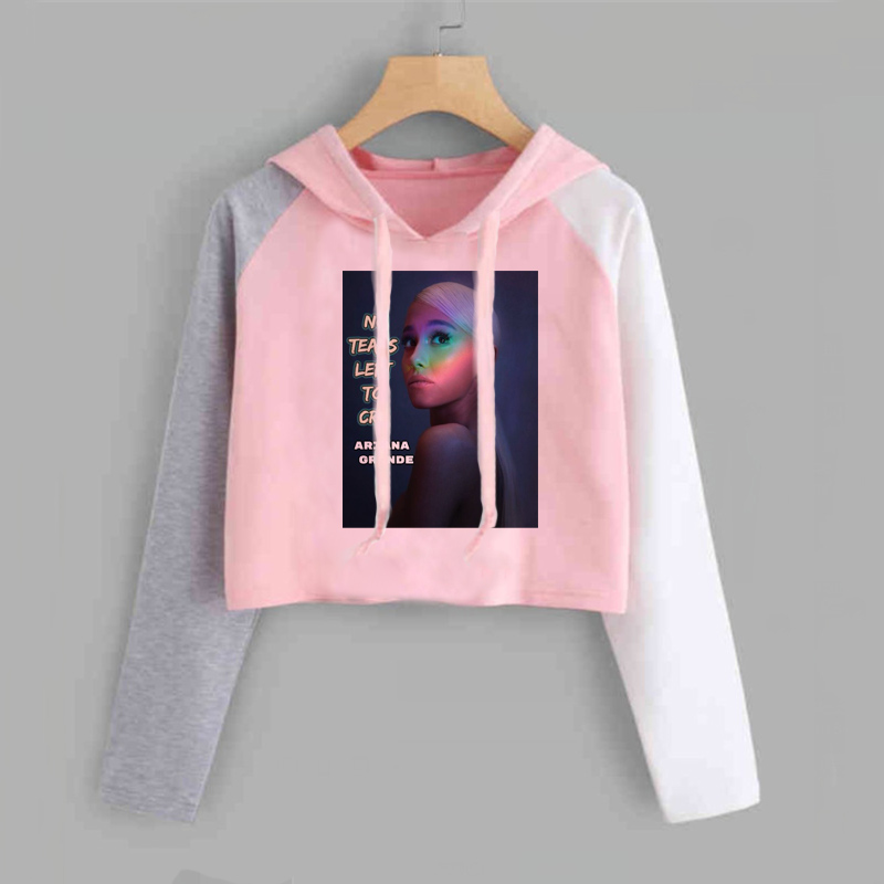 Ariana Grande Crop Top Hoodie Women No Tears Left To Cry Sweatshirt Thank U Next Imagine Yuh Spring Autumn Clothes Cropped